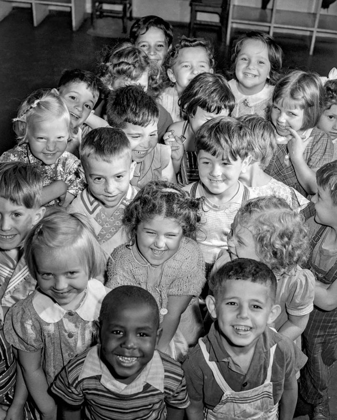 Nursery children at the Red Hook Houses Community Center. About 100 children attend, some from surrounding neighborhood. Brooklyn, New York. 1942.