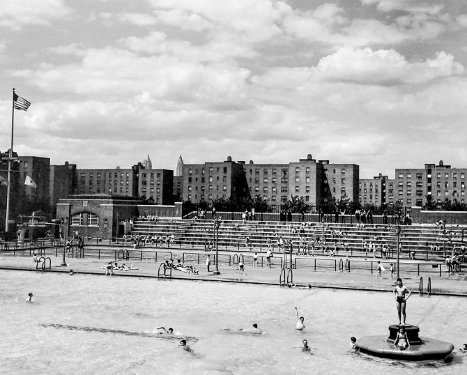 Swimming pools, Red Hook Houses Community Center. Brooklyn, NY 1942.