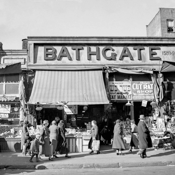 Scene along Bathgate Avenue in the Bronx, a section from which many of the Jersey Homestead residents have come. New York City. 1936.