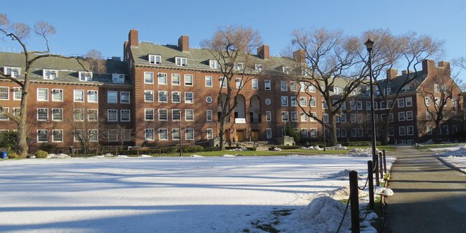 Brooklyn College Campus. Bedford and Nostrand Avenues. Boylan Hall on the central green, 1936.
