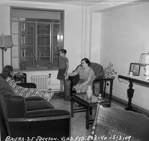 Family B. in new public housing, Vladeck Houses. Jackson Street, Lower East Side. 1940.