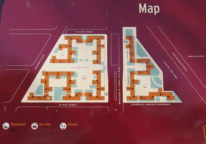 Current site plan of Harlem River Houses.