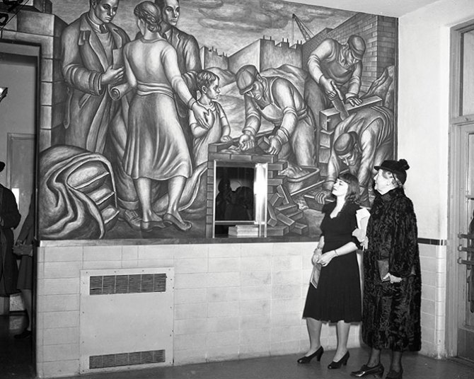 Blueprint for Living. Marion Greenwood (1909-1970). Dedication of the mural at Red Hook Houses, NYCHA, November 27, 1940, with the artist and Mary Simkhovitch, vice chair of NYCHA. (NYCHA)