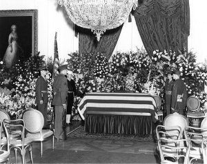 FDR casket in the East Room of the White House, April 14, 1945