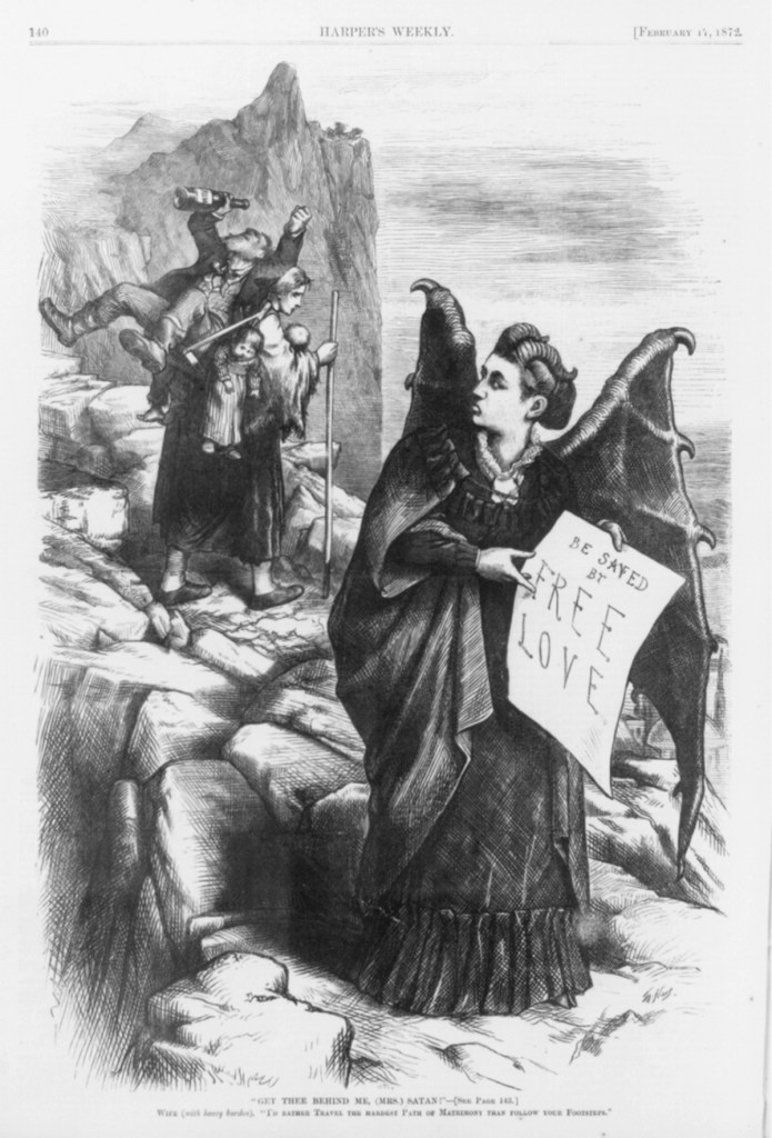 "Thomas Nast. ""Get Thee Behind Me, (Mrs. Satan)!"" Harper's Weekly, February 17, 1872. (Victoria Woodhull)"