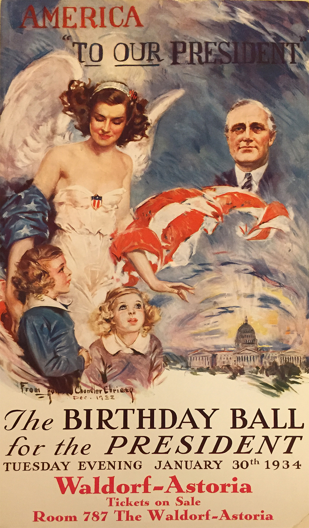 Howard Chandler Christy.  America To Our President. The Birthday Ball for the President. January 30, 1934. (N-YHS)