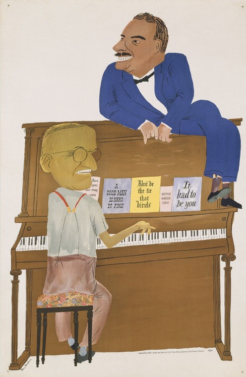 """Ben Shahn. 1948. """"The Duet: Truman and Dewey."""" Amalgamated Lithographers of America. Color Lithographic poster. National Portrait Gallery, Smithsonian"""