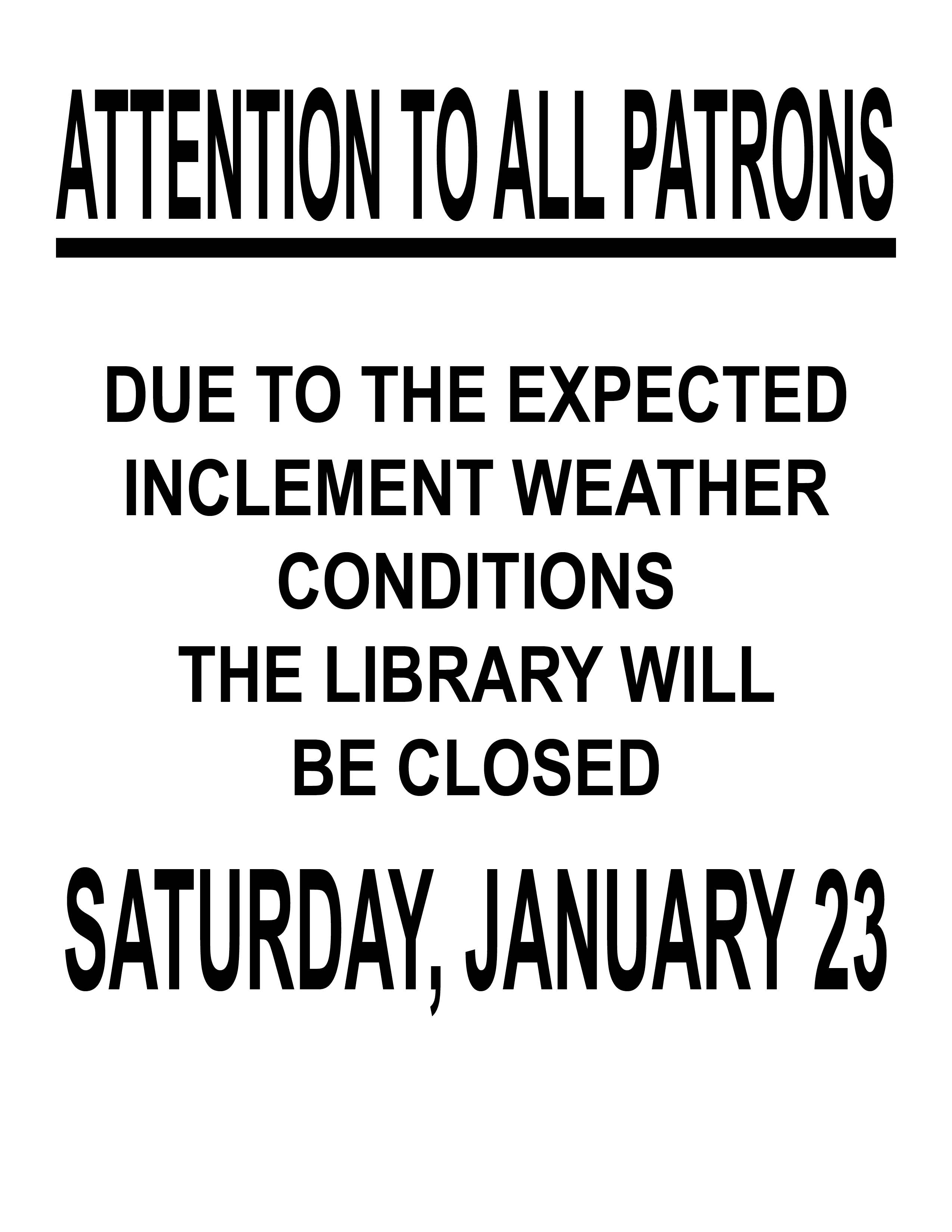 INCLEMENT WEATHER FLYER