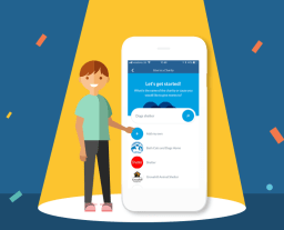 Illustration of a boy under a spotlight pointing at a device with the RoosterMoney app's give to a charity screen on it, on a dark blue stage with confetti overlaid