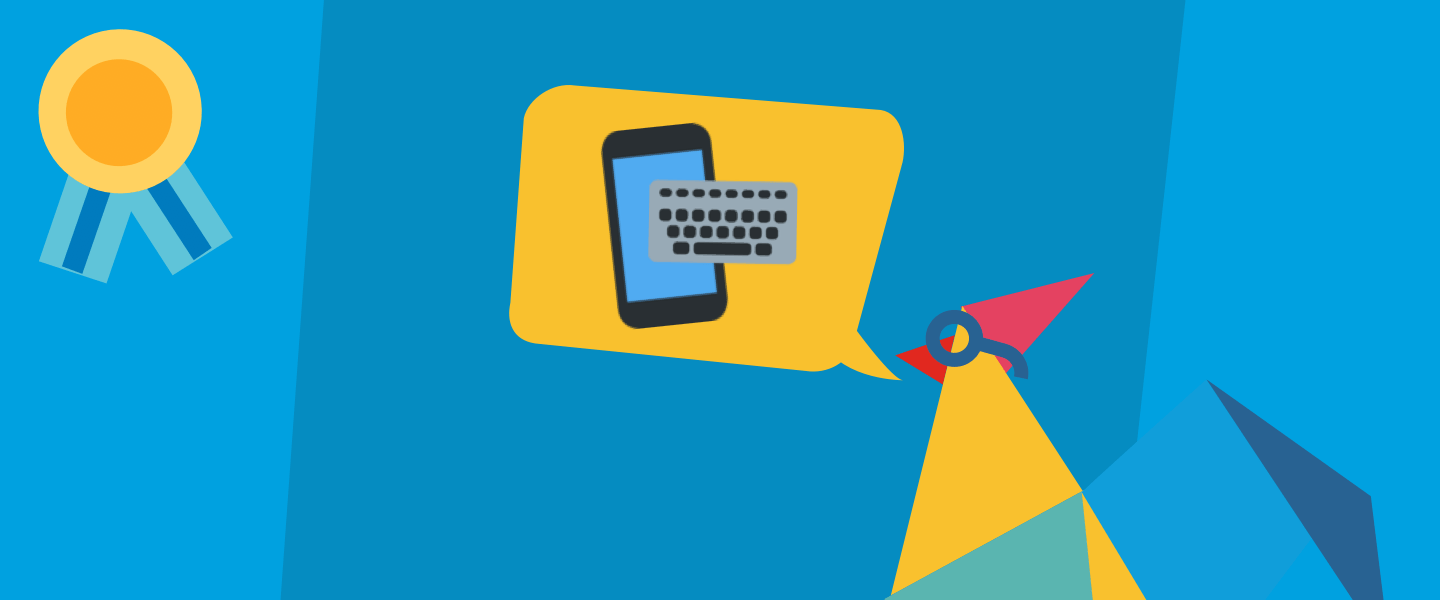 Illustration of Rooster with a phone and keyboard, accompanied by a gold badge in the corner