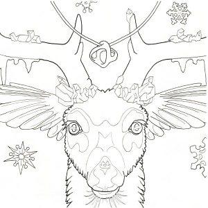 deer totem coloring page