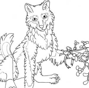 mistletoe wolf coloring page