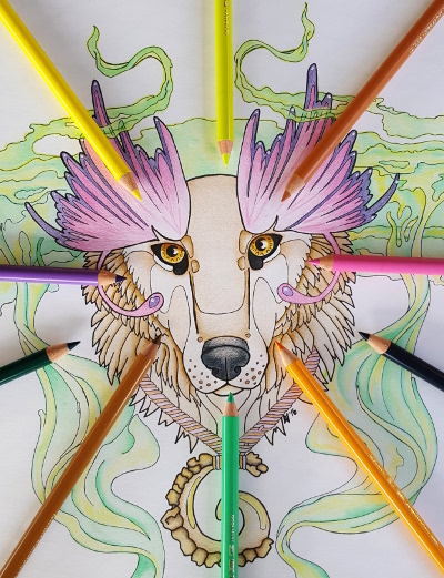 Coloring Pages Totem Animals : Cougar totem coloring page for adults root inspirations