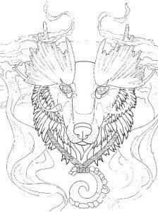 wolf totem coloring page