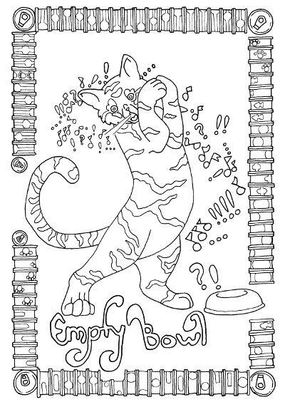 singing cat coloring page