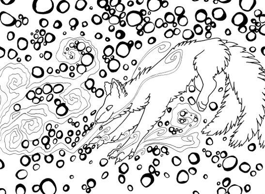kitsune fox coloring page