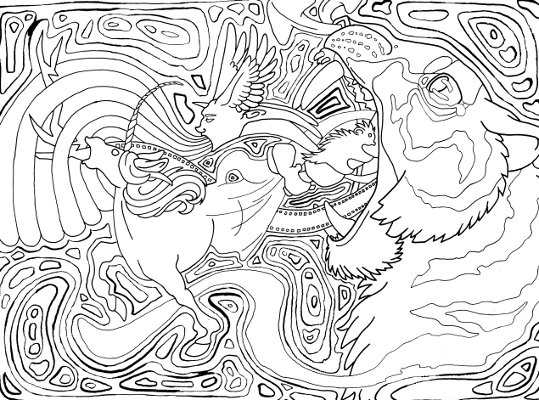 surreal tiger coloring page
