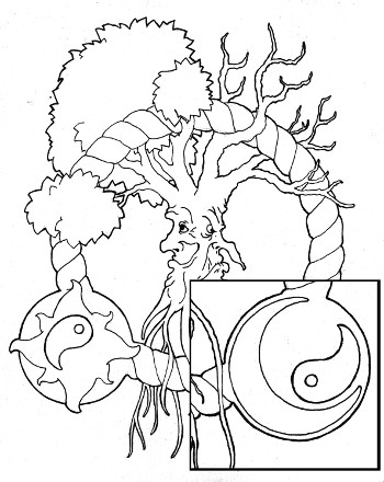 Yin Yang Tree Coloring Page For Adults Root Inspirations