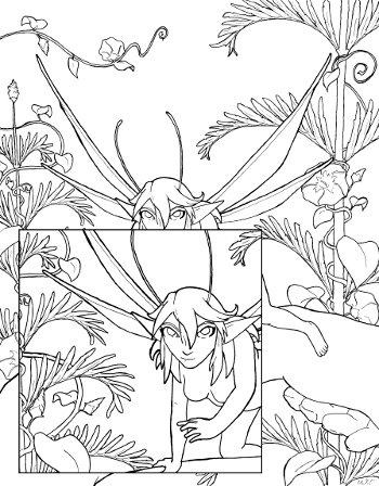 fairy encounter coloring page