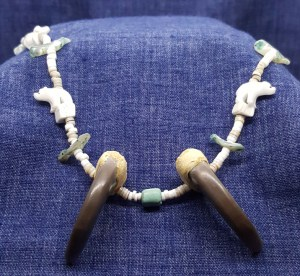 black bear claw necklace with turquoise