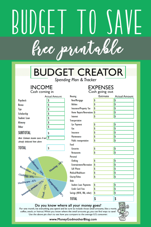 Saving Money - FREE Budget Printable