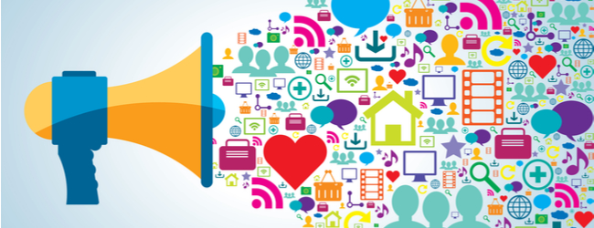 An illustration of a megaphone with several icons coming out of it - hearts, internet symbols, music notes, computers, etc. all indicating internet activity.