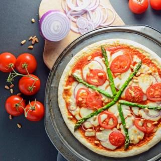 Asparagus, Onion and Pine Nut Pizza