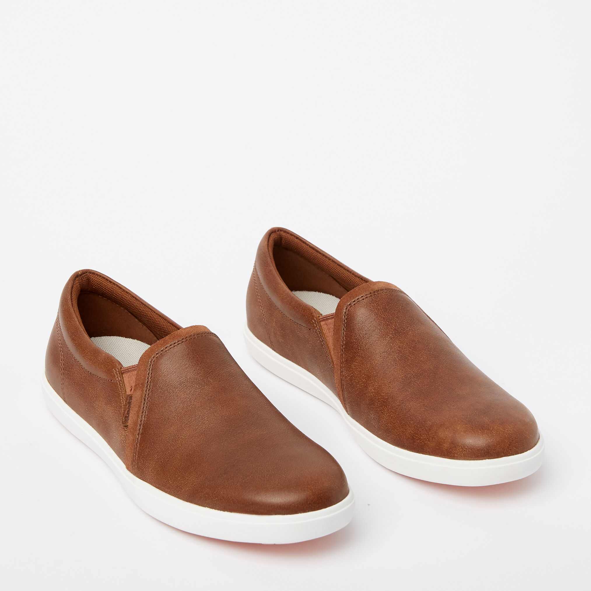 Brown Leather Slip On Shoes Womens