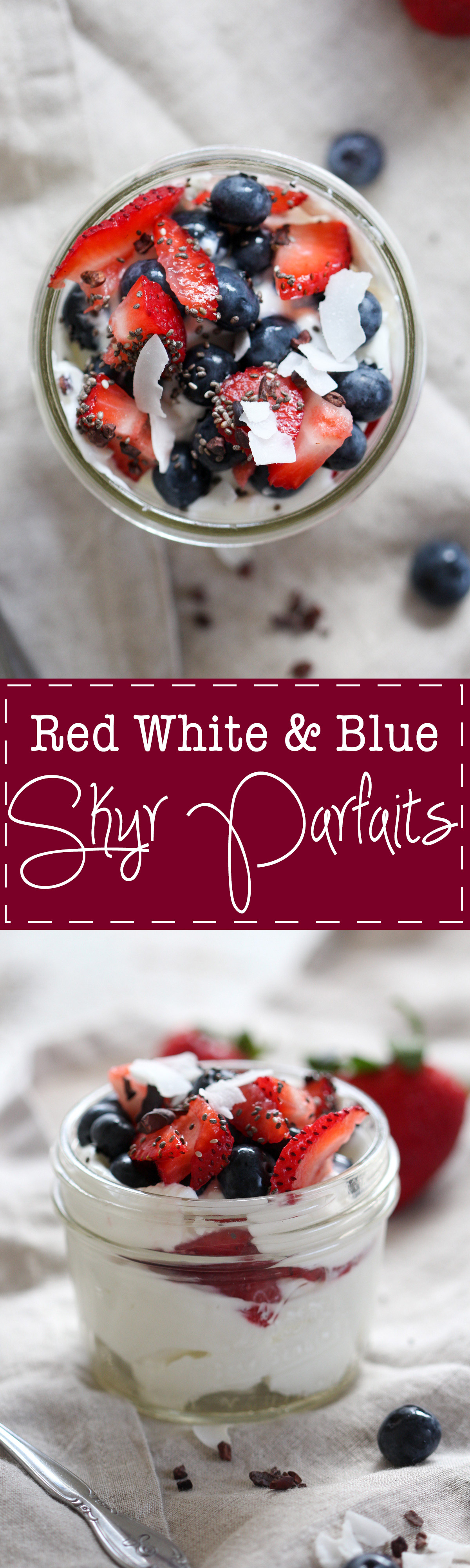 Red White and Blue Skyr Parfaits - A simple and festive Fourth of July treat! Skyr is Icelandic-style yogurt, very similar to Greek yogurt. It's always a perfect time to try something new! Skyr, berries, and healthy toppings.   rootsandradishes.com