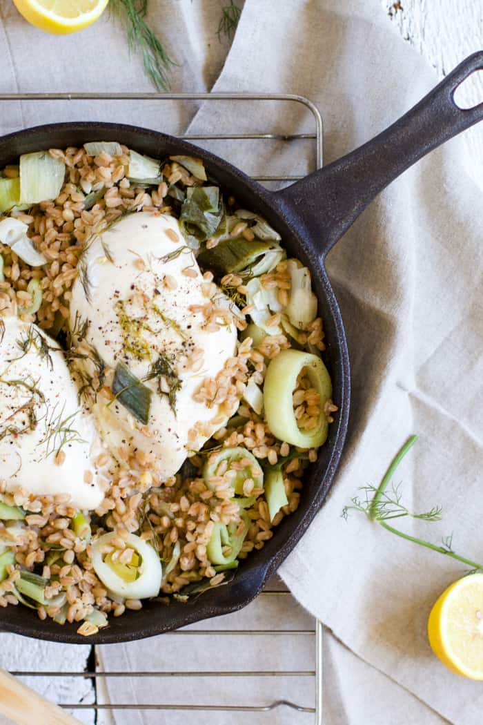 One Skillet Chicken with Leeks and Farro - The perfect quick and easy weeknight meal, all in one cast iron skillet. Chicken, farro, leeks, lemon and dill. Come on over and check out the recipe! | www.rootsandradishes.com