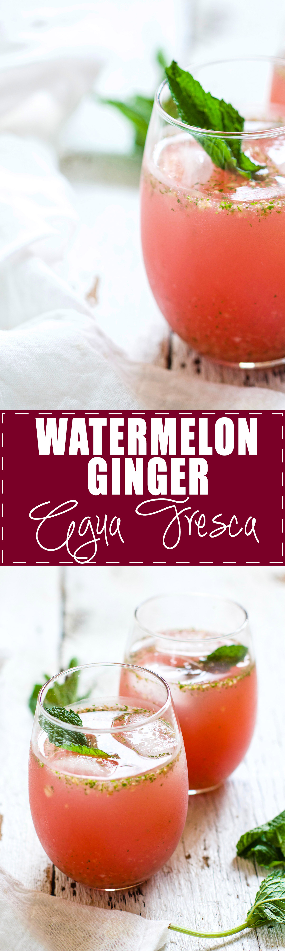 Watermelon Ginger Agua Fresca - SO refreshing and delicious, perfect for cooling down on a hot summer day. Watermelon, ginger, mint, lime, agave - blend it all up with water, chill, and serve. | rootsandradishes.com