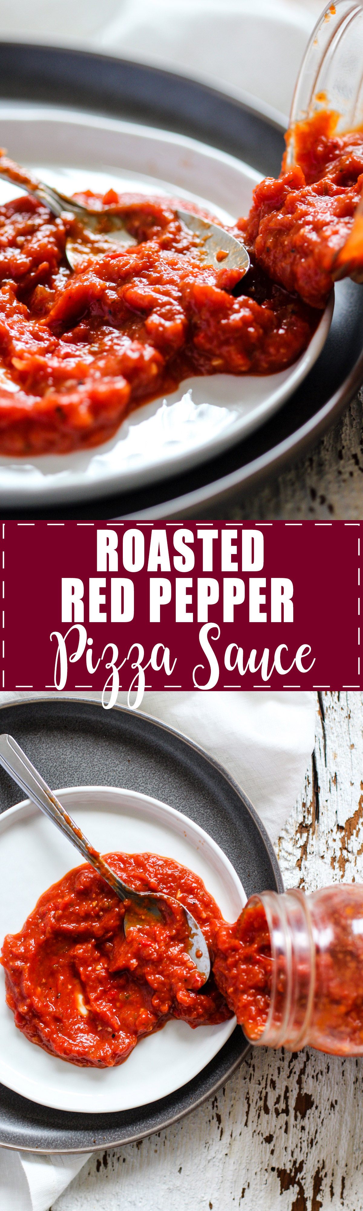 Roasted Red Pepper Pizza Sauce - Quick and easy comfort food! Roasted red peppers, tomatoes, garlic, olive oil, and oregano. Make ahead for homemade pizza on any day of the week! Recipe on rootsandradishes.com