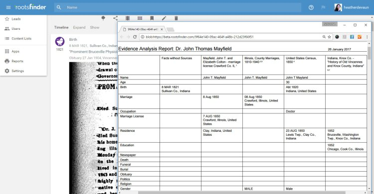 The Evidence Analysis report is very helpful for evidence-based genealogy