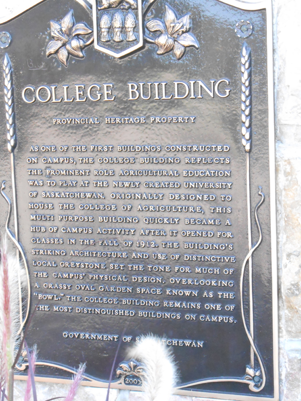 Honouring our heroes - Remember Us - University of Saskatchewan Great War Commemoration Committee College Building Plaque
