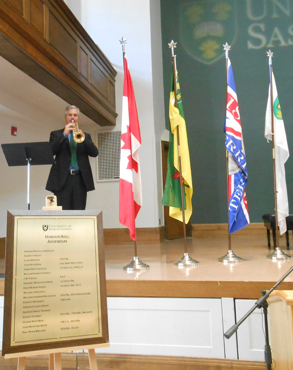 Honouring our heroes - Remember Us - University of Saskatchewan Great War Commemoration CommitteeHonourRollAddendum-Professor Dean McNeil trumpet solo-2