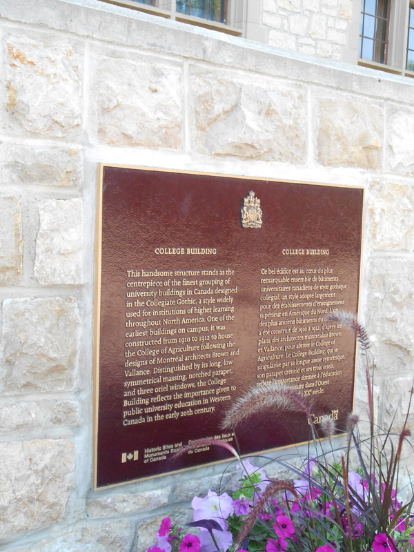 Honouring our heroes - Remember Us - University of Saskatchewan Great War Commemoration Committee Peter McKinnon Building -College Building Plaque.