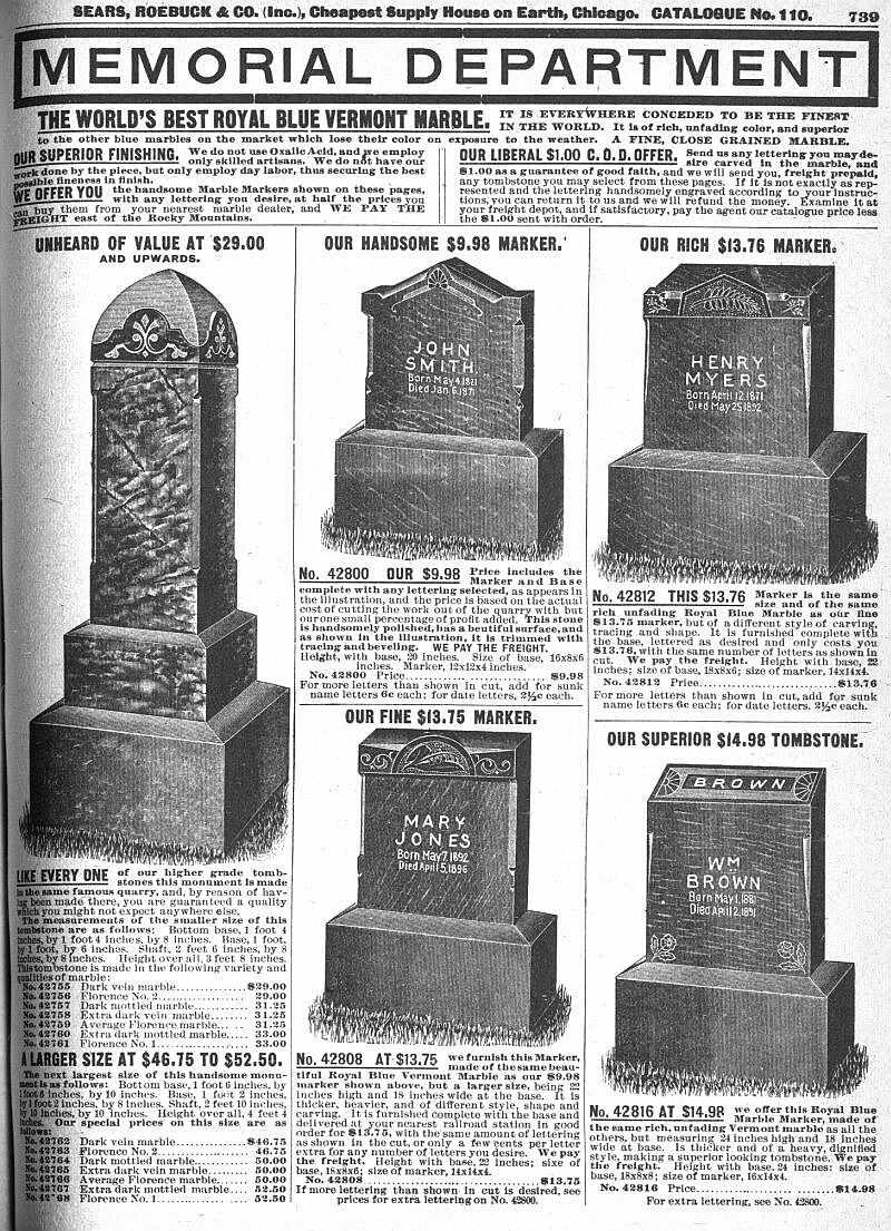 Sears: Tombstones Sears Catalogue