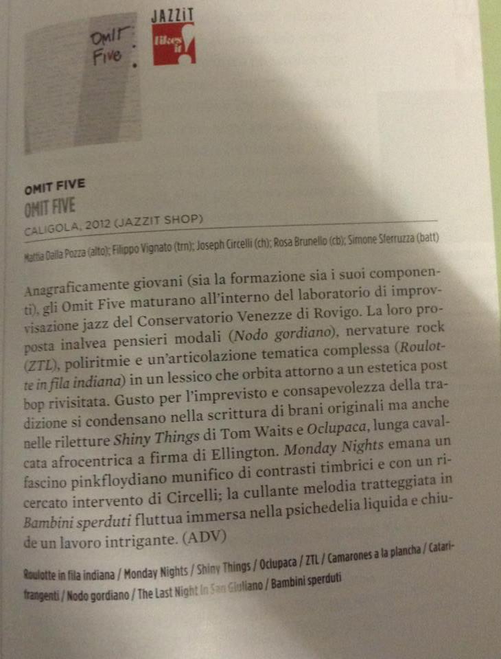recensione OMIT FIVE_jazzit maggio2013