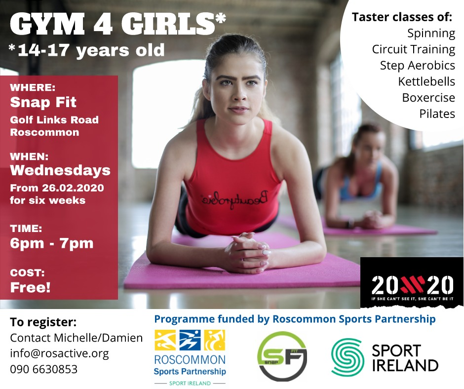 Gym 4 Girls Programme, commencing 26th February 2020, funded by Roscommon Sports Partnernship