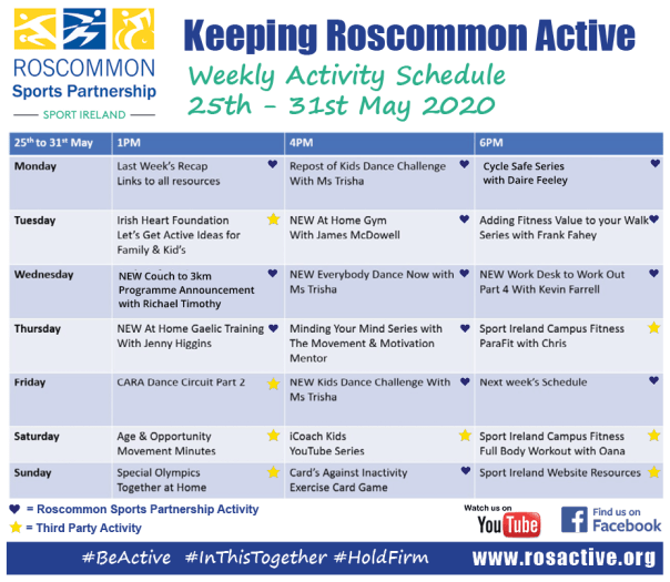 Roscommon Sports Partnership Weekly Online Activity Schedule 25th - 31st May 2020