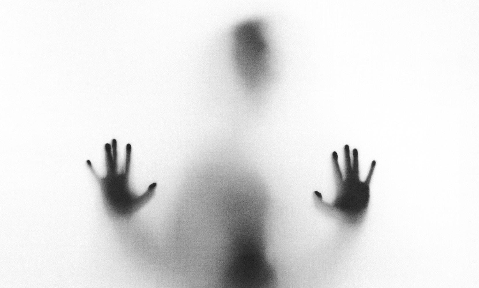 Fotografía en blanco y negro de una silueta