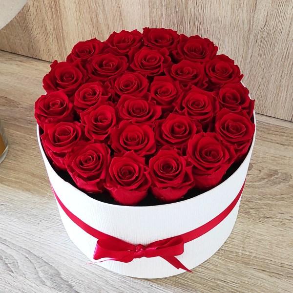 scatola bianca tonda con 25 rose rose stabilizzate e nastro rosso abbinato
