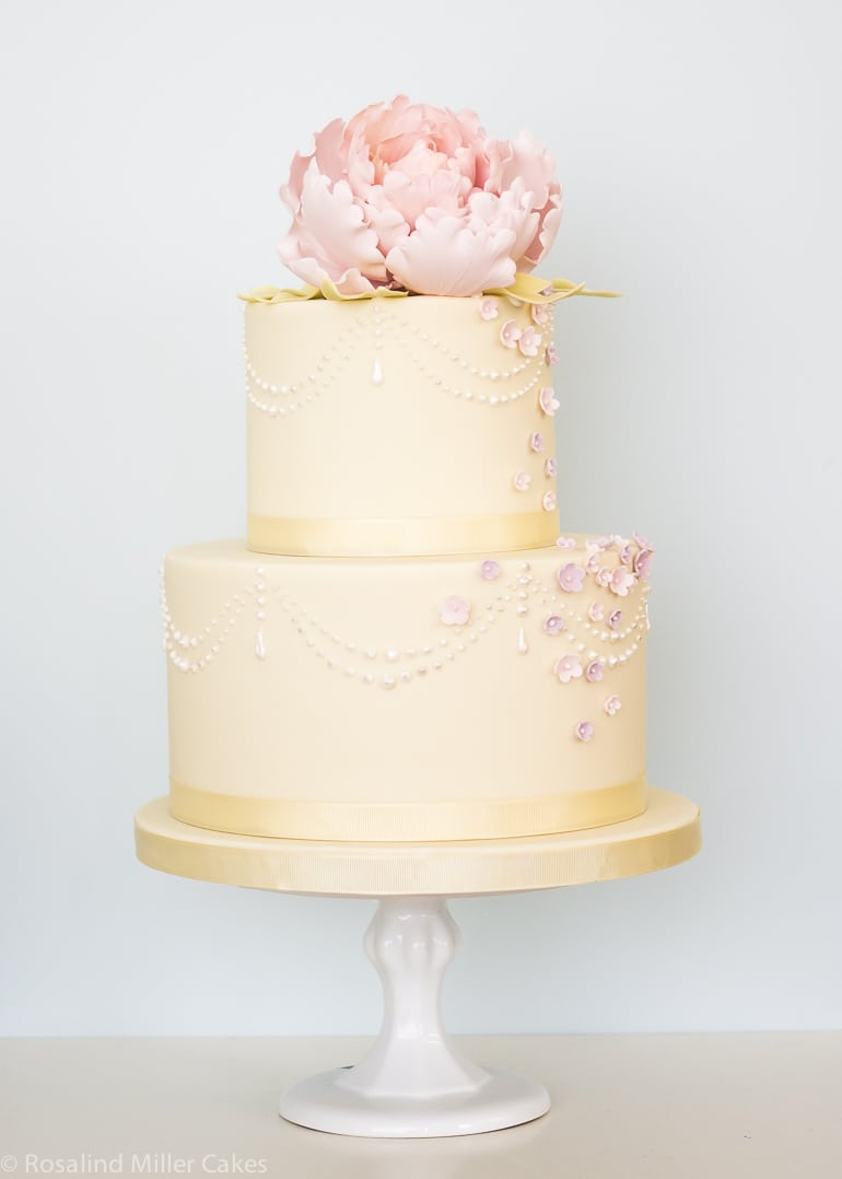 Peonies Pearls And Drapes Rosalind Miller Cakes