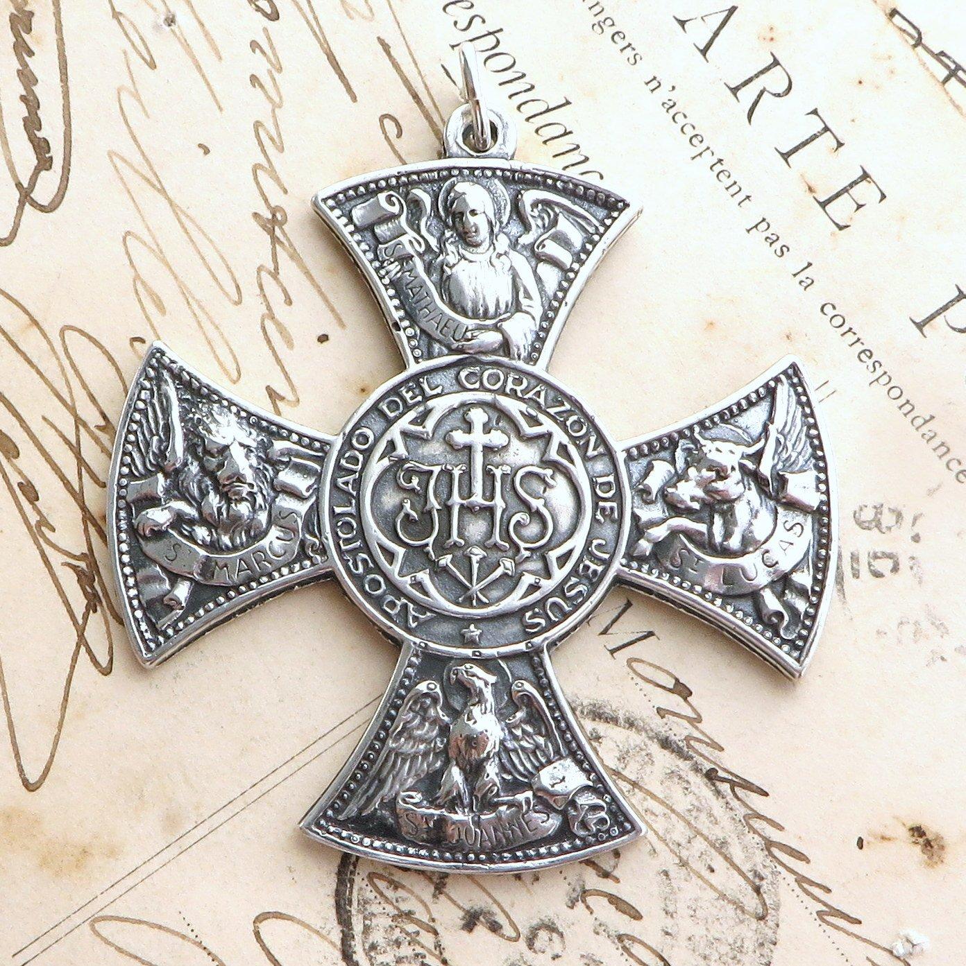 Four Gospels Cross Sterling Silver Antique Replica