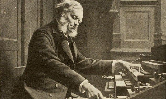 César Franck, autor de Panis Angelicus, tocando su famoso órgano Cavaillé-Coll.