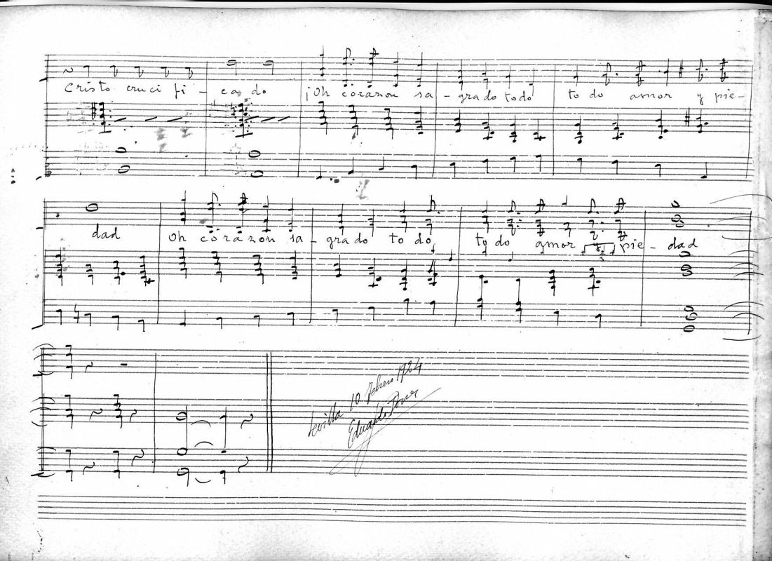 Última página del guión de dirección manuscrito ológrafo de las Coplas al Señor del Calvario con la firma de Eduardo Torres Pérez (1872 - 1934).