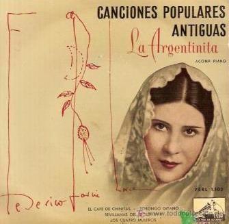 Carátula original del disco donde Federico García Lorca y La Argentinita grabaron Anda, Jaleo.