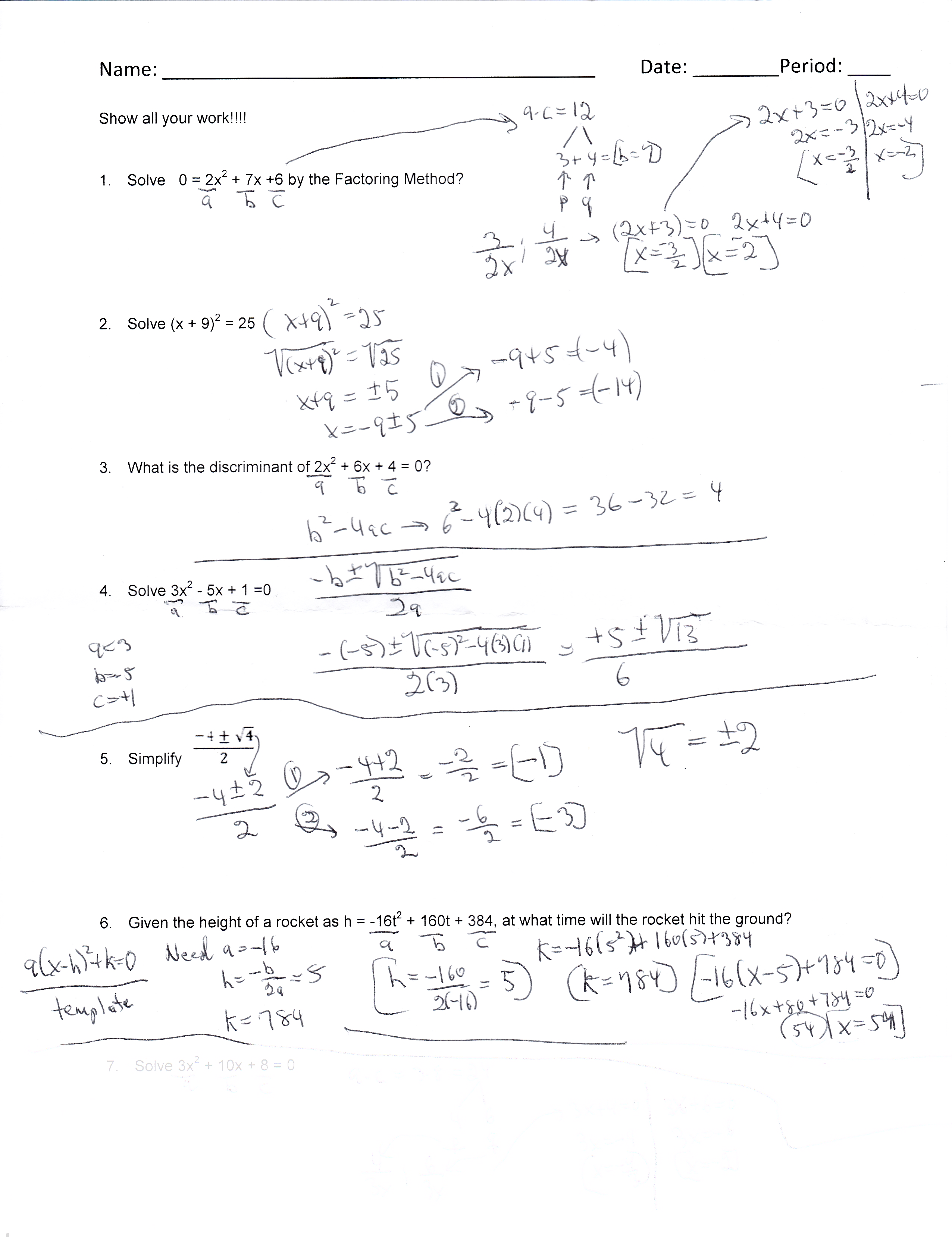 Quadratic Equations Homework