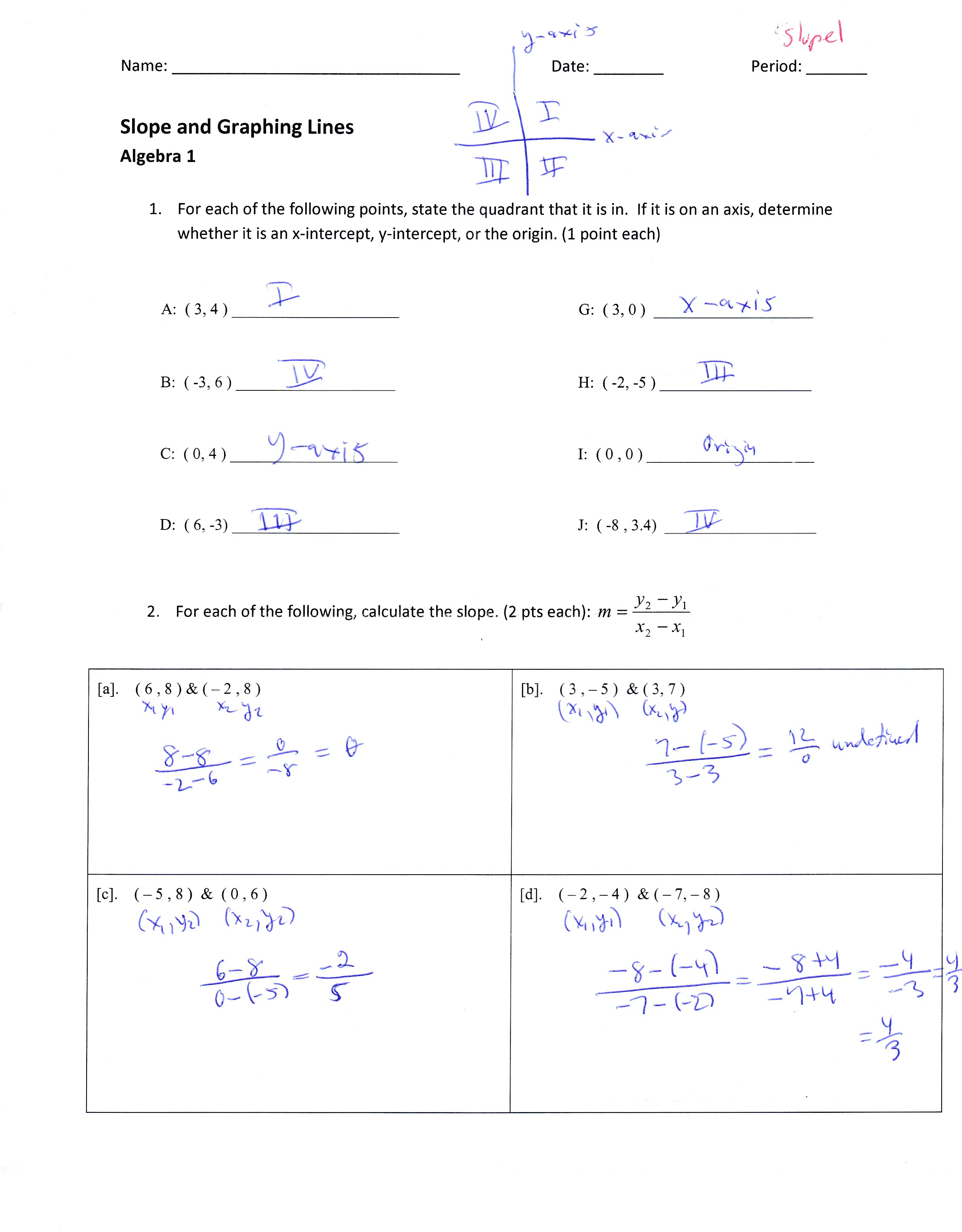 Finding The Slope Of A Line Given Two Points Worksheet