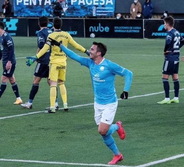 Javi Pérez celebra tras marcar el 3-0. Ibiza dio el gran golpe.